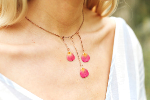 Pink Rose Pressed Petal Bib Necklace