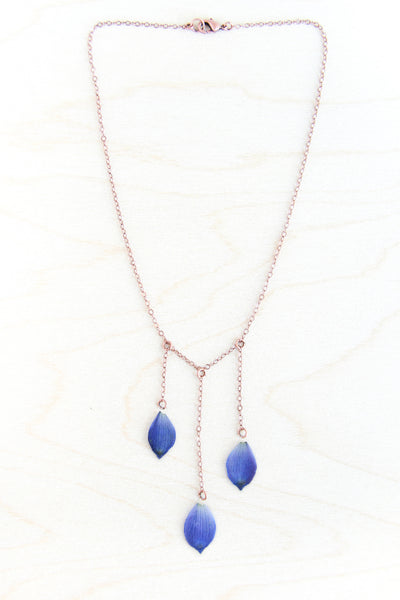 Blue Delphinium Pressed Petal Necklace