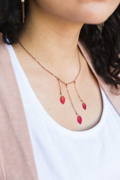 Red Bougainvillea Pressed Flower Bib Necklace