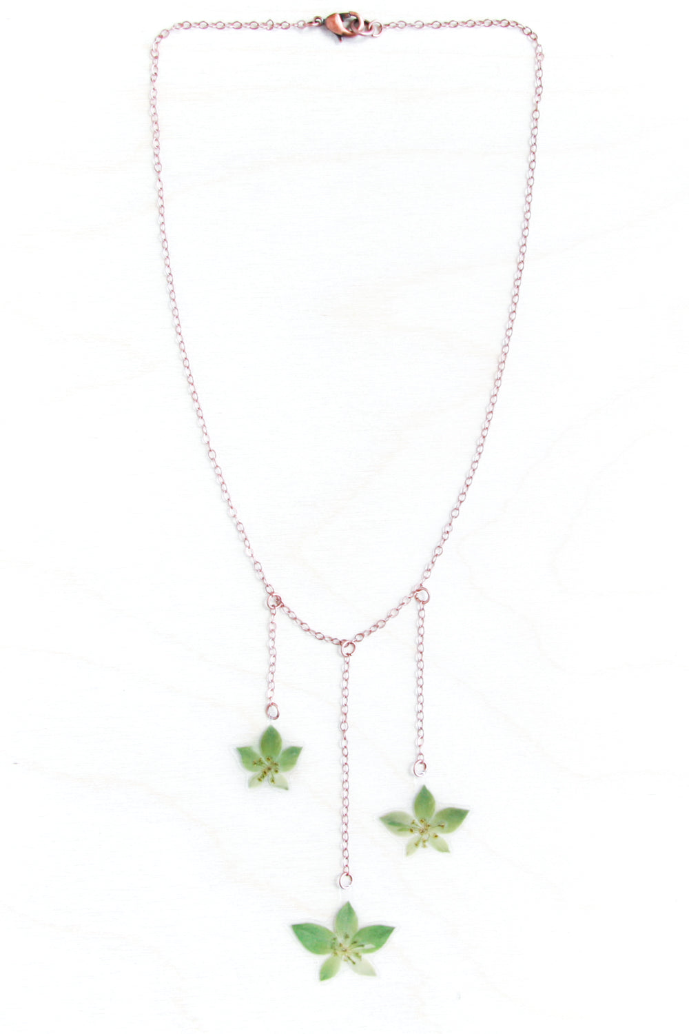 Green Bupleurum Flower Bib Necklace