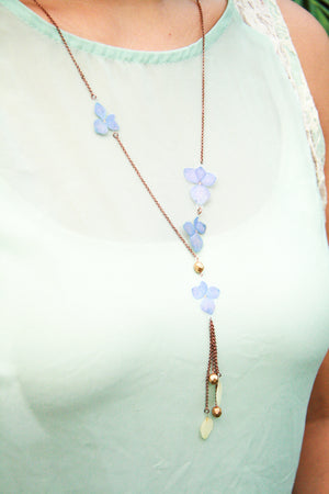 Purple & White Hydrangea Pressed Flower Necklace with Glass Beads
