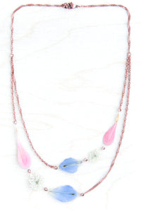 Pink Zinnia + Blue Delphinium + White Queen Anne's Lace Flower Bouquet Necklace