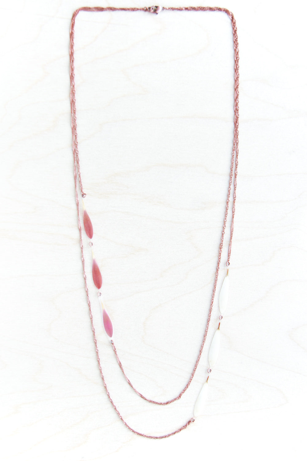 Pink + White Daisy Petal Long Layered Necklace