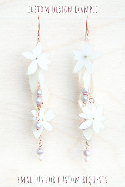 White Hydrangea Pressed Flower Bridal Earrings with Freshwater Pearls--Custom Available