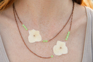 White Hydrangea Pressed Flower Necklace with Jade Glass Beads