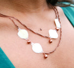 White Hydrangea Pressed Petal Necklace with Copper Teardrop Glass Beads