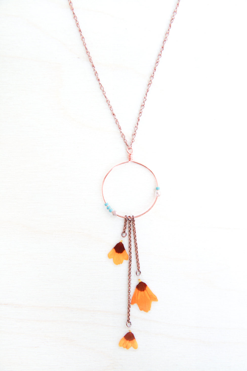Yellow Coreopsis Pressed Flower Necklace with Copper Hoop & Glass Beads
