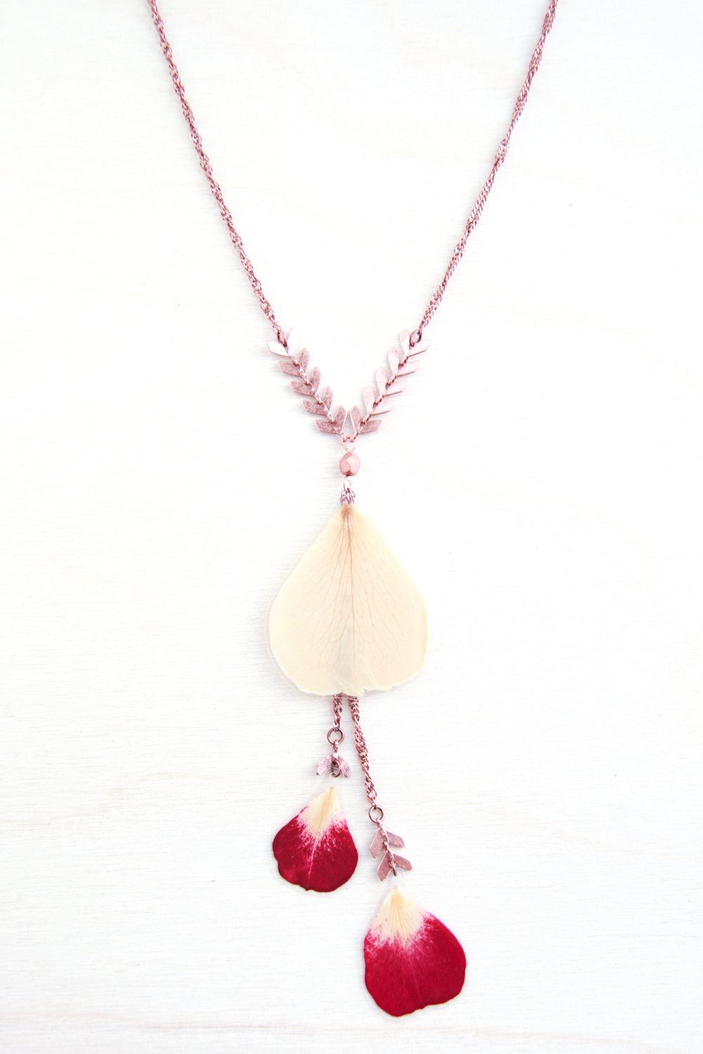 Fuchsia & White Rose Pressed Flower Necklace with Glass Beads