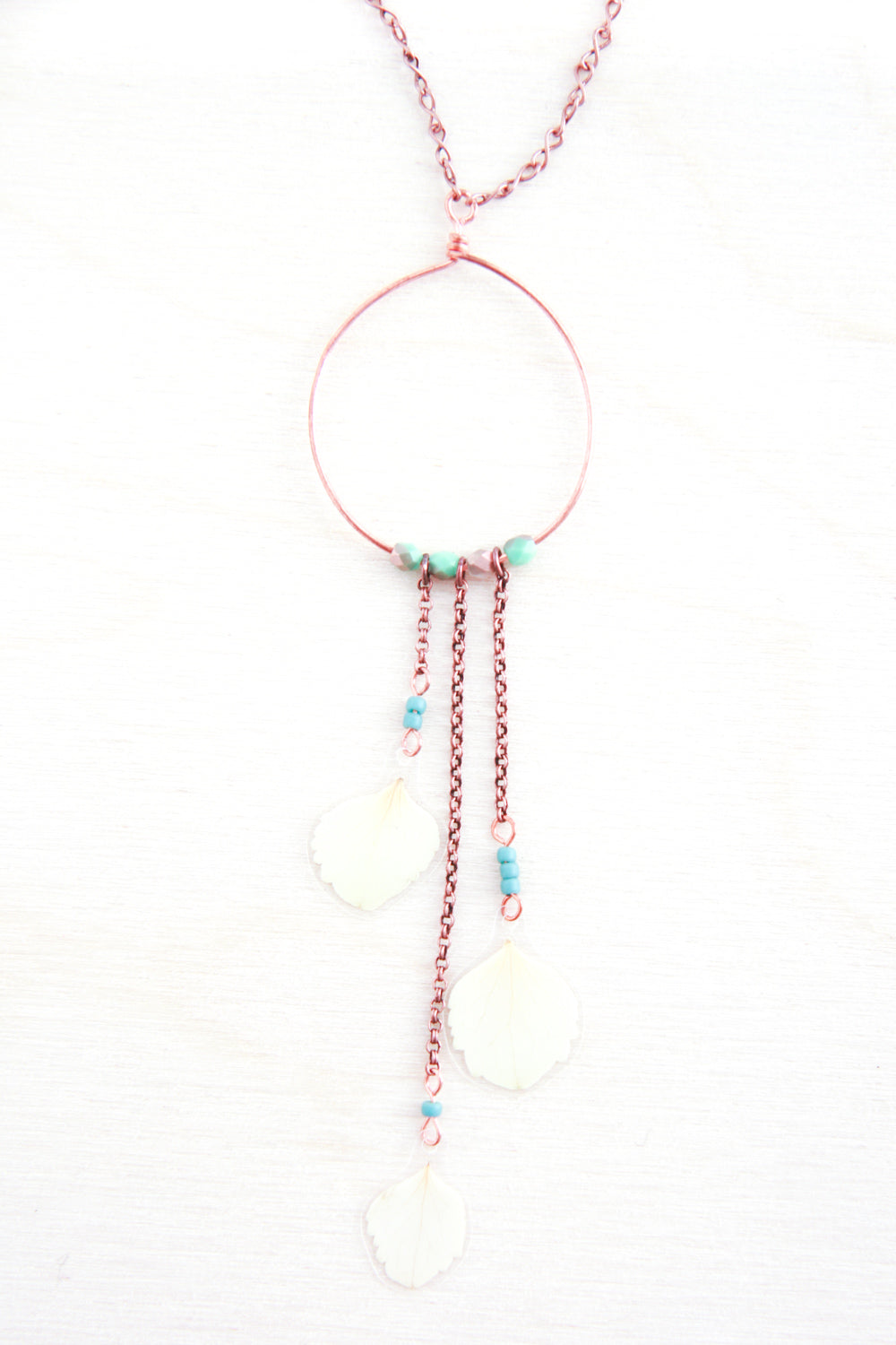 White Hydrangea Pressed Flower Necklace with Copper Hoop & Glass Beads