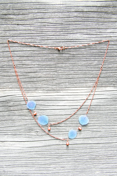 Blue Hydrangea Pressed Petal Necklace with Copper Glass Teardrop Beads
