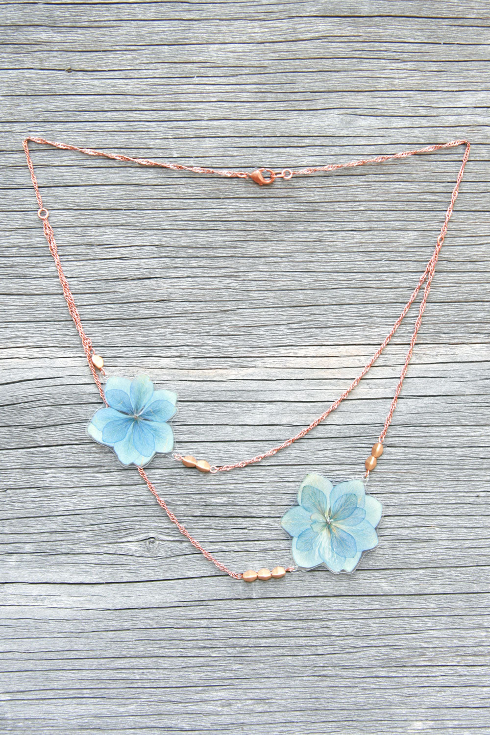 Blue Green Hydrangea Pressed Petal Necklace with Flax Glass Beads