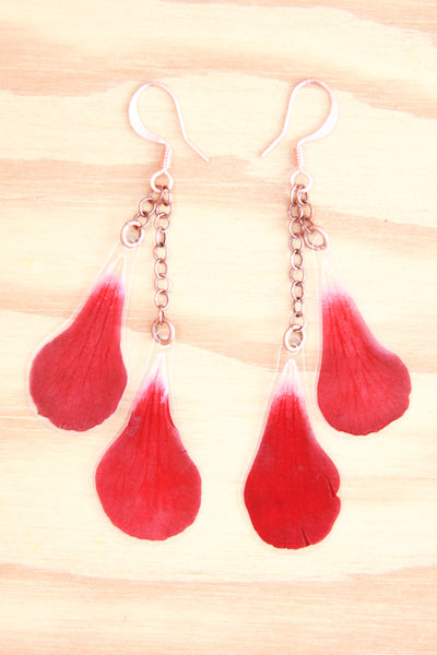 Red Geranium Pressed Petal Earrings