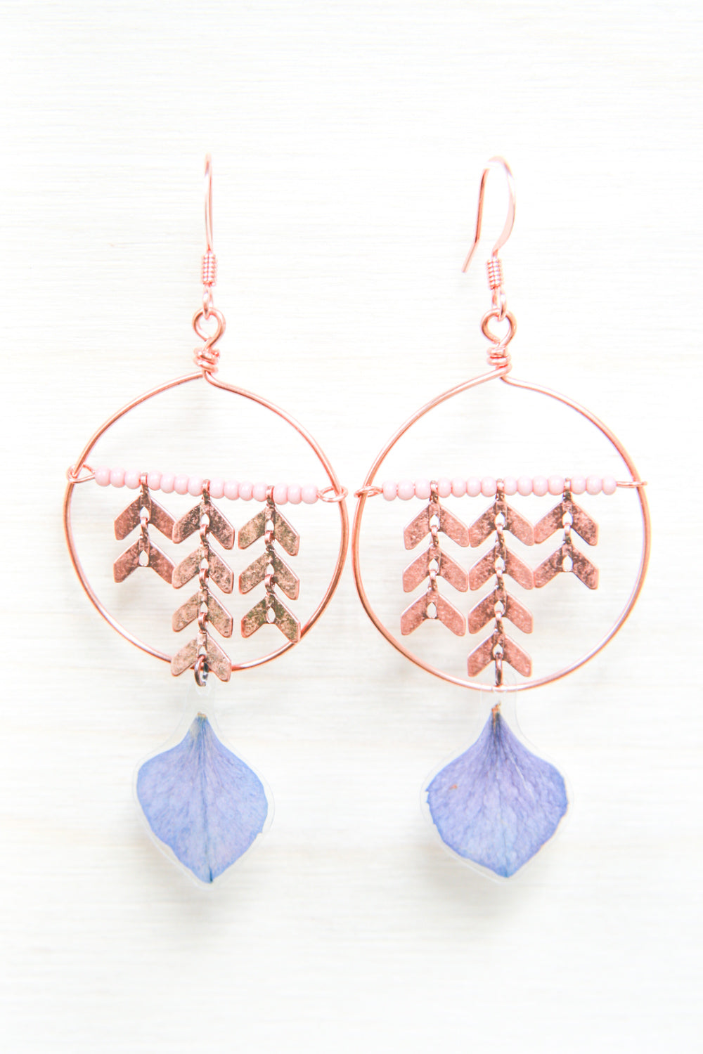 Purple Hydrangea Pressed Flower Earrings with Copper Hoop & Glass Beads