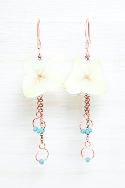 White Hydrangea Pressed Flower Earrings with Turquoise Glass Beads