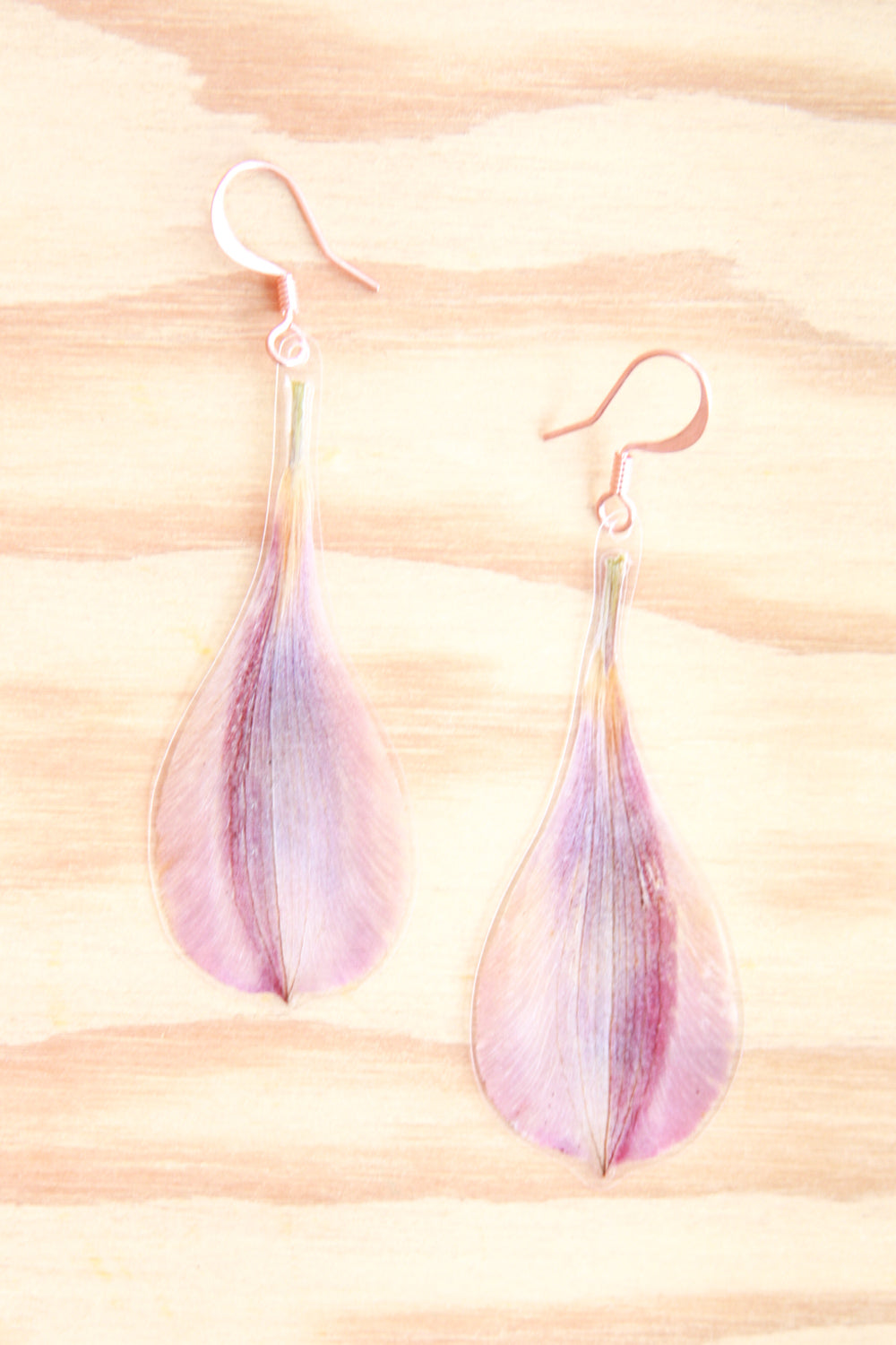 Pink Orange Peruvian Lily Pressed Petal Earrings