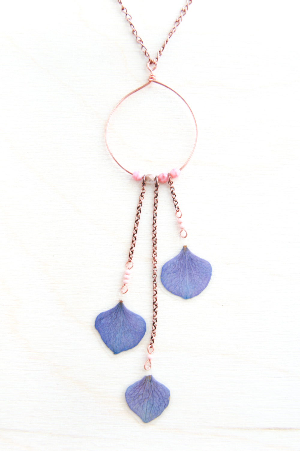 Purple Hydrangea Pressed Flower Necklace with Copper Hoop & Glass Beads