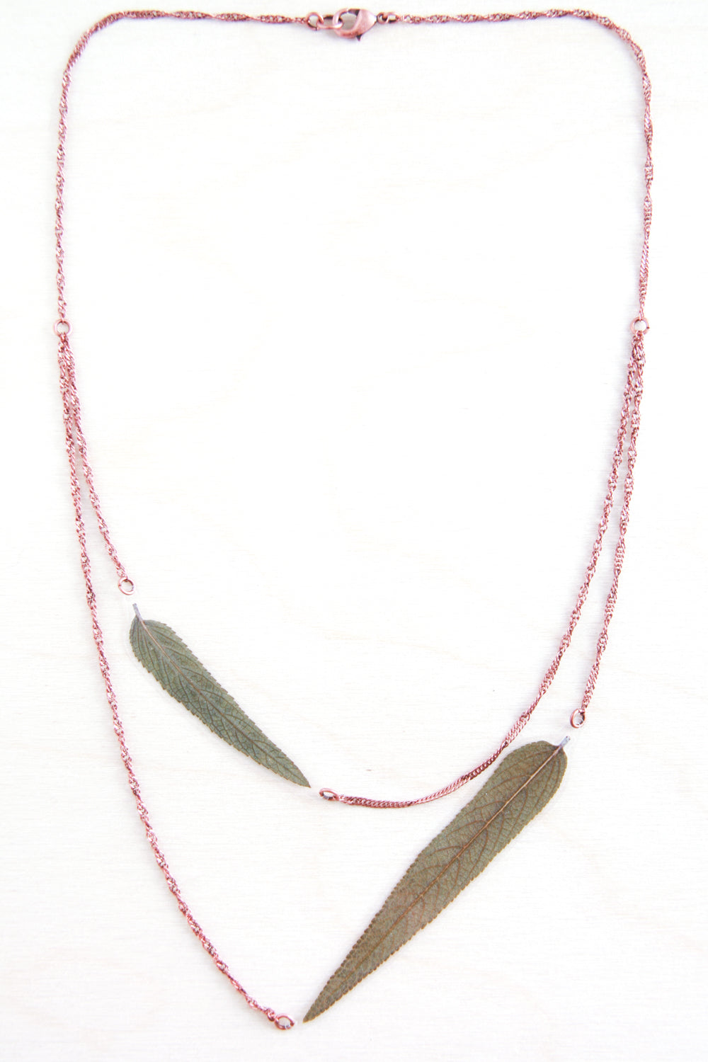 Green Sage Pressed Leaf Necklace
