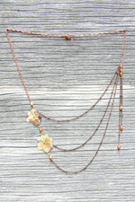 Red Green Hydrangea Pressed Petal Necklace with Flax Glass Beads