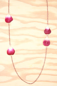 Fuchsia Rose Pressed Petal Necklace