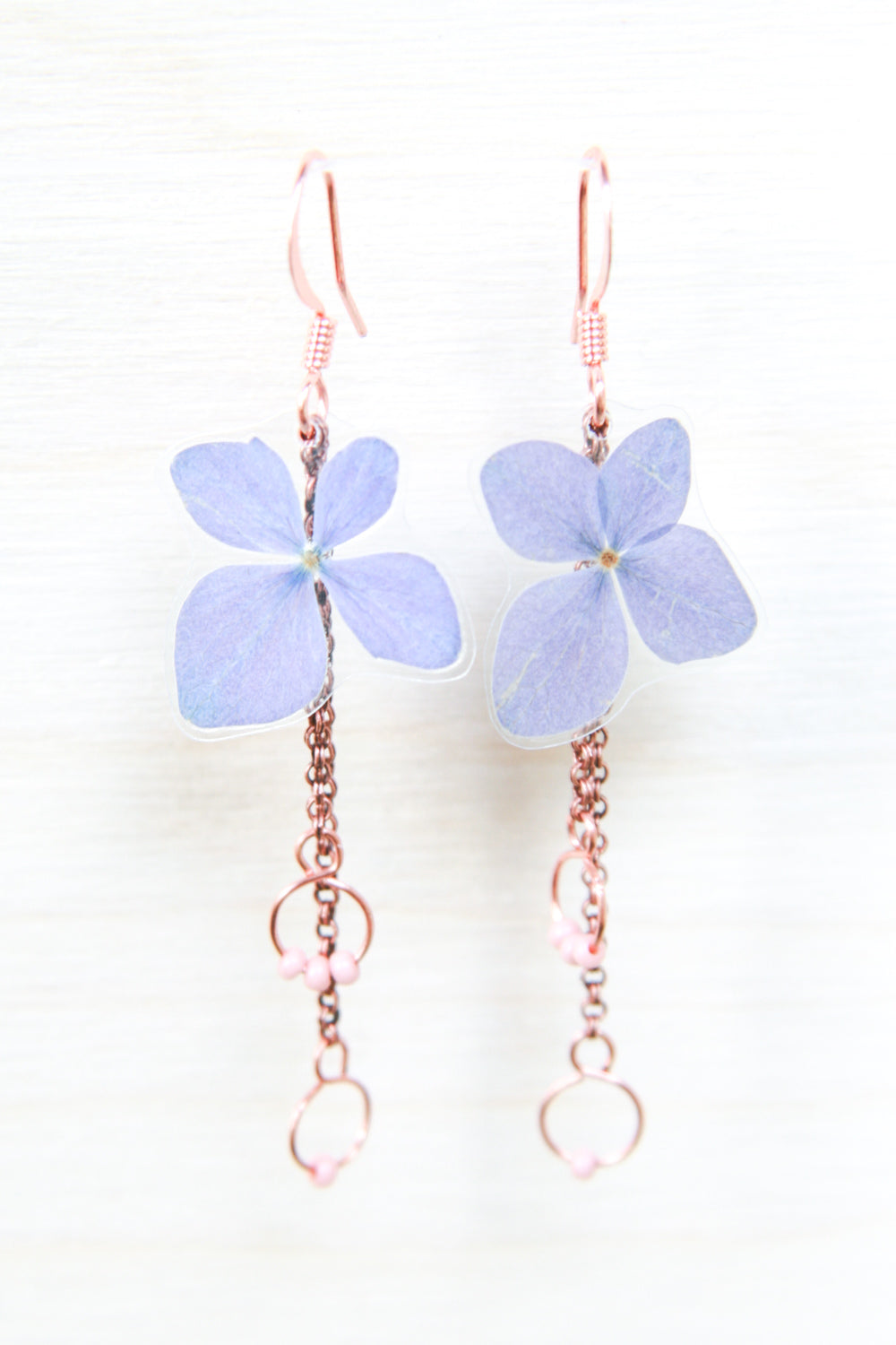 Purple Hydrangea Pressed Flower Earrings with Rose Glass Beads