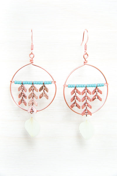 White Hydrangea Pressed Flower Earrings with Copper Hoop & Glass Beads