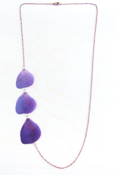 Purple Princess Flower Pressed Petal Necklace