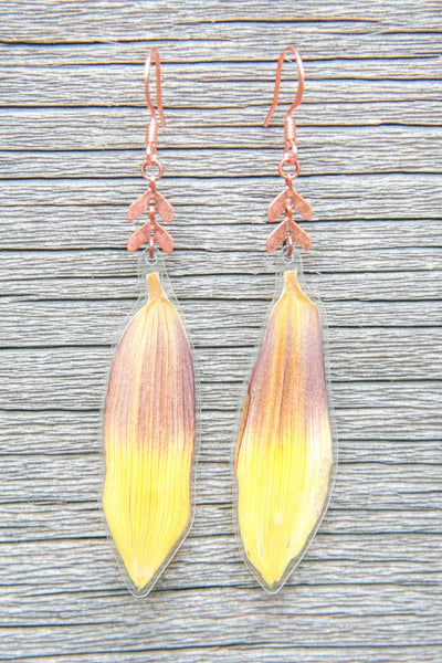 Yellow Brown Sunflower Pressed Petal Earrings with Copper Beads