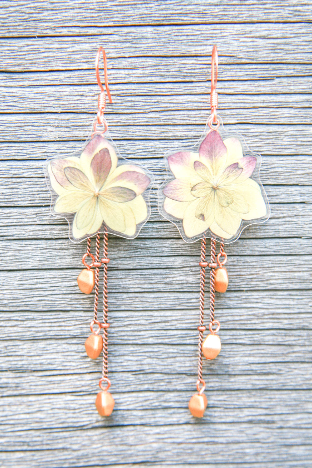 Red Green Hydrangea Pressed Petal Earrings with Flax Glass Beads