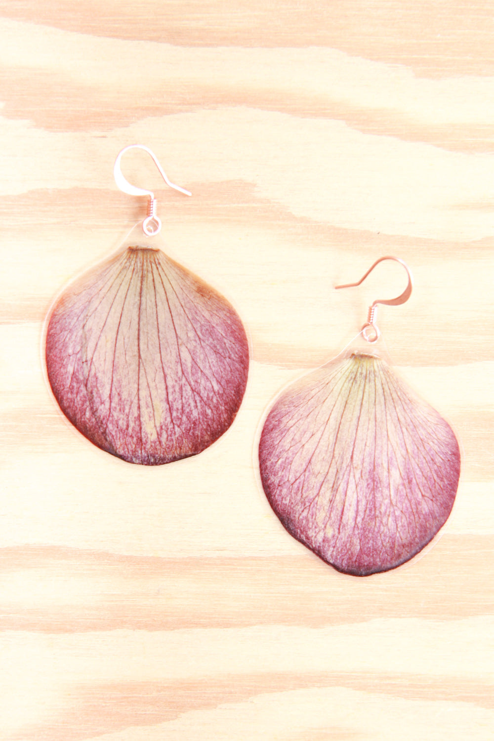 Purple Hellebore Pressed Petal Earrings