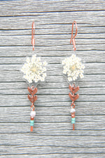 White Queen Anne's Lace Pressed Petal Earrings with Glass & Copper Beads