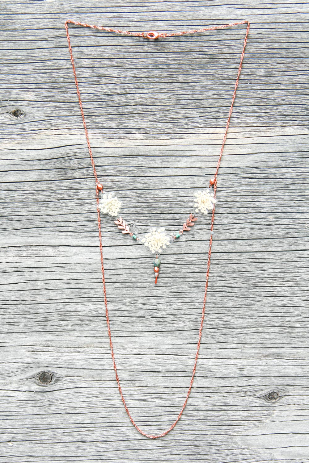 White Queen Anne's Lace Pressed Petal Necklace with Glass & Copper Beads