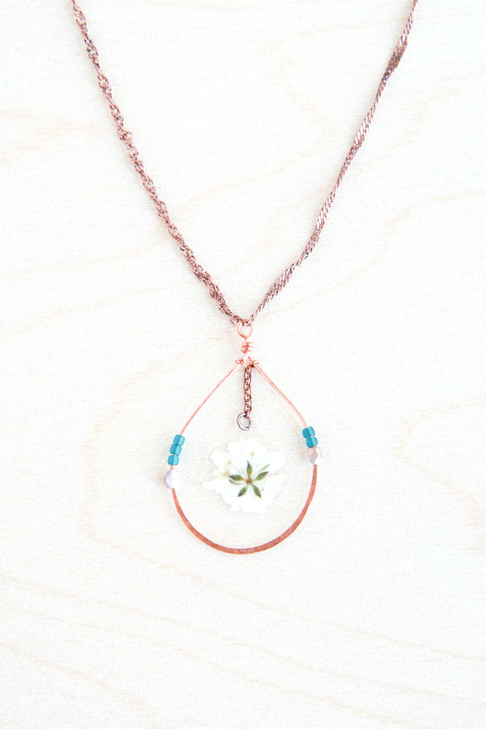 Baby's Breath Pressed Flower Necklace with Copper Teardrop Hoops and Teal Glass Beads