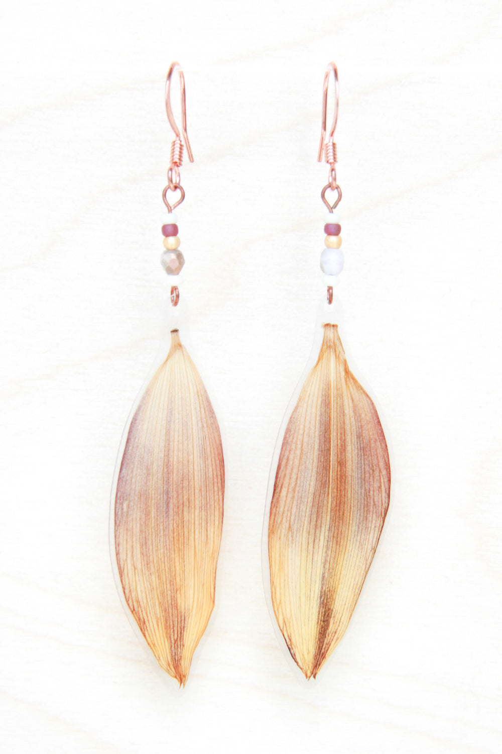 Brown & Yellow Sunflower Pressed Flower Earrings with Cranberry, Gold & Cream Glass Beads