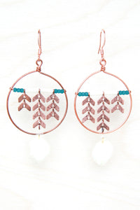 White Hydrangea Pressed Petal Earrings with Copper Chevron & Hoops - Teal & Cream