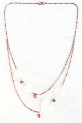 White Hydrangea Pressed Petal Necklace with Cranberry Teardrop Glass Beads
