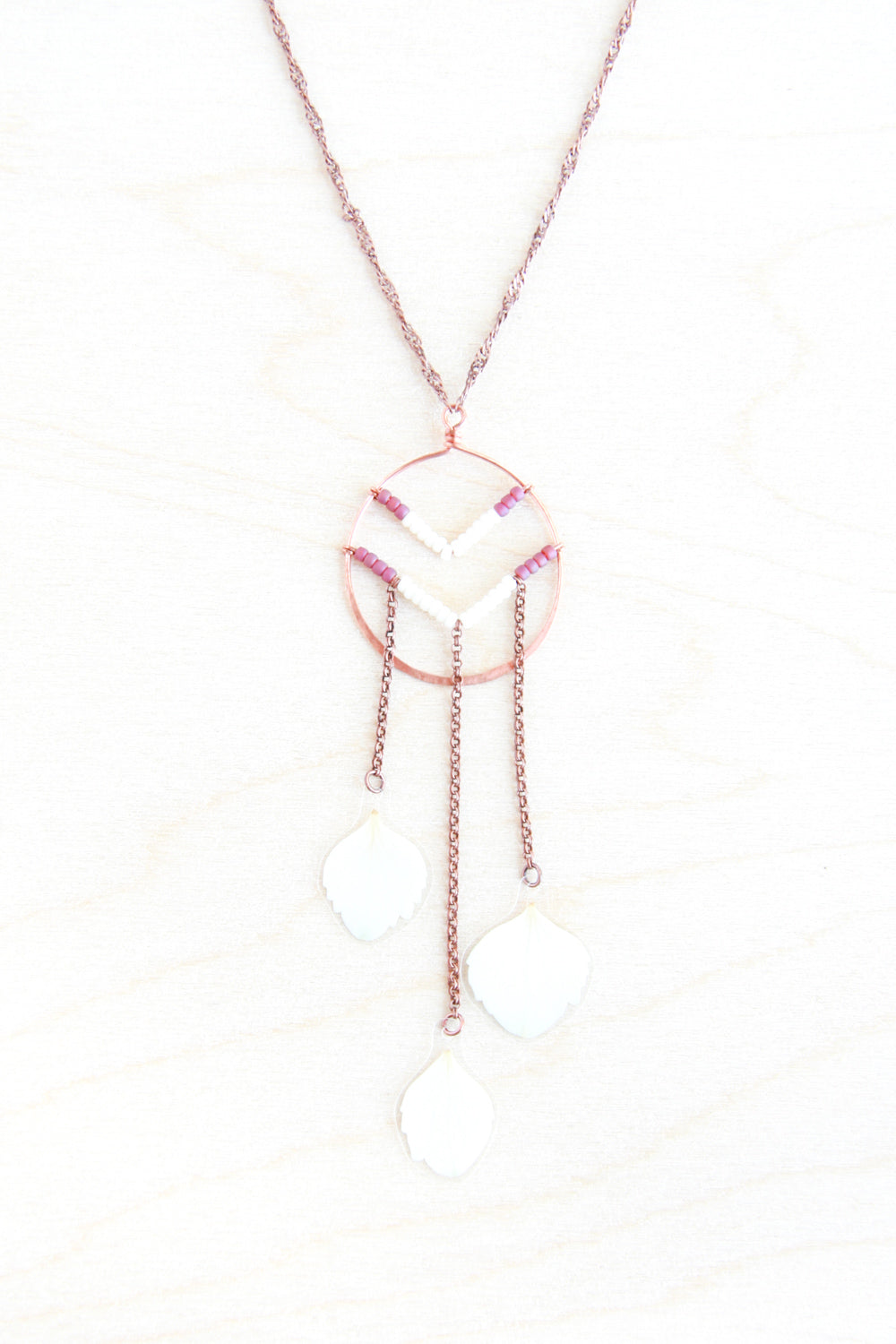 White Hydrangea Pressed Petal Necklace with Beaded Chevron & Copper Hoop - Cranberry & Cream