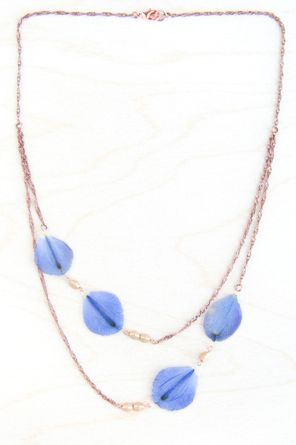 Delphinium Pressed Petal Necklace with Flax Metallic Glass Beads