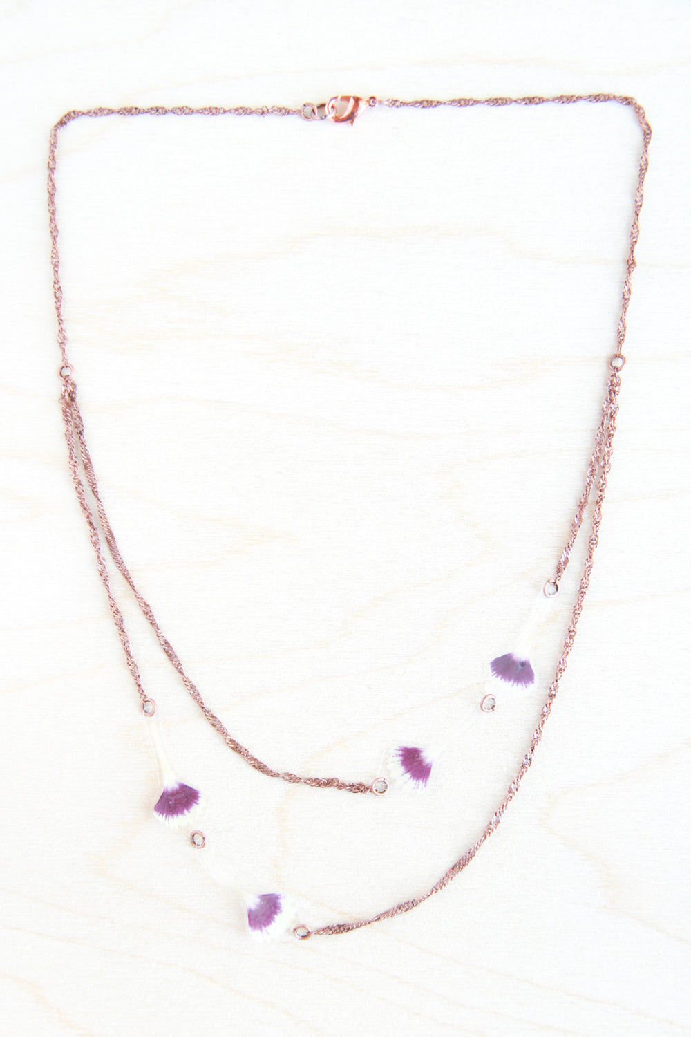 Burgundy Sweet William Pressed Petal Necklace