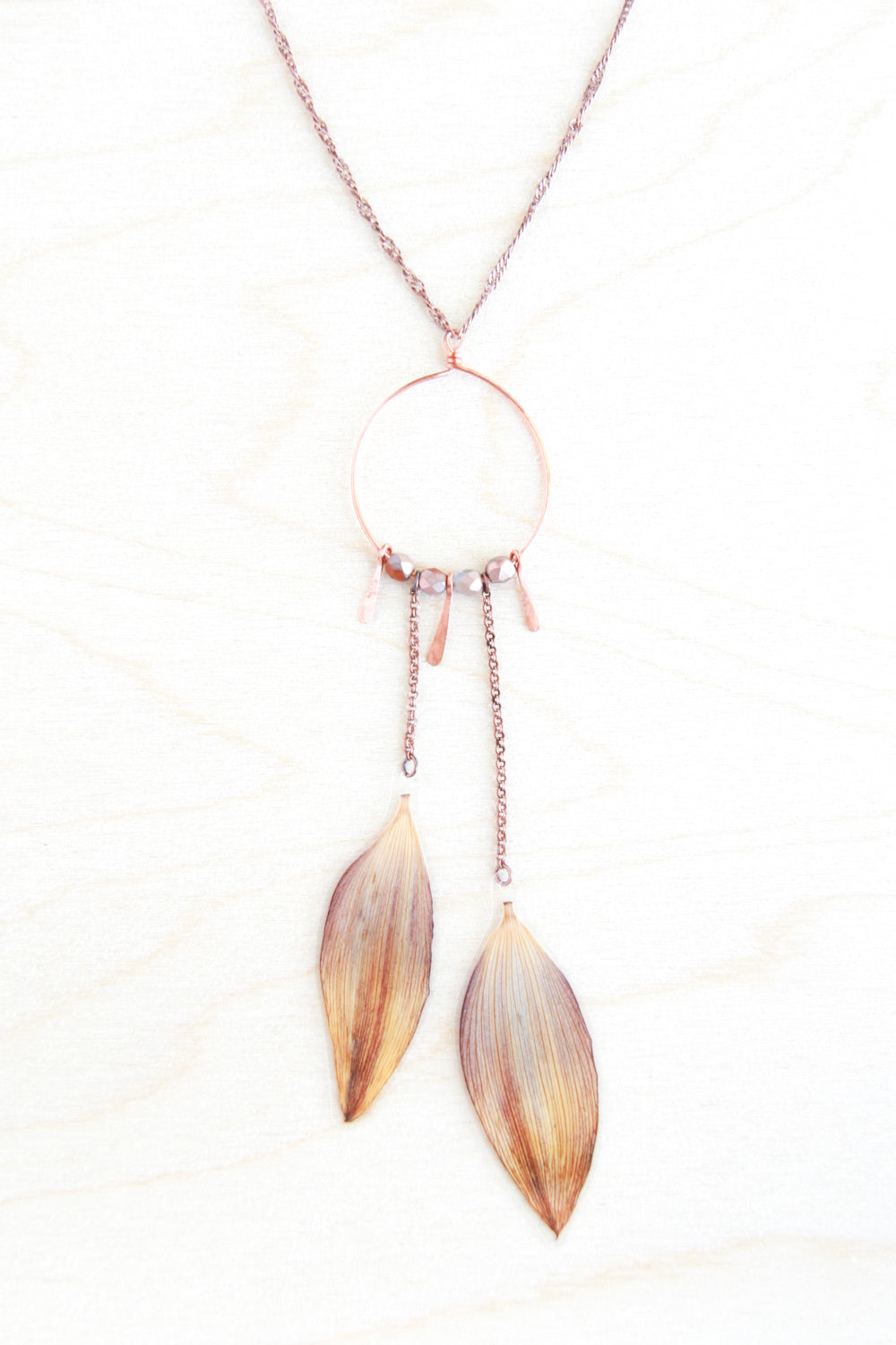 Brown & Yellow Sunflower Pressed Flower Necklace with Copper Hoop, Hammered Sun Rays, and Burnt Umber Glass Beads