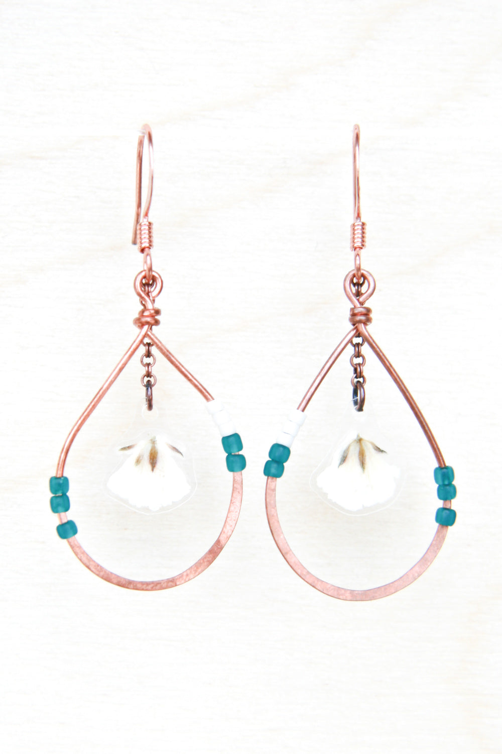 Baby's Breath Pressed Flower Petal Earrings with Copper Teardrop Hoops and Teal Glass Beads