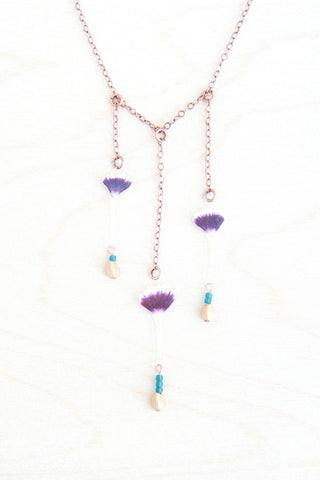 Sweet William Pressed Petal Necklace with Teal & Flax Glass Beads