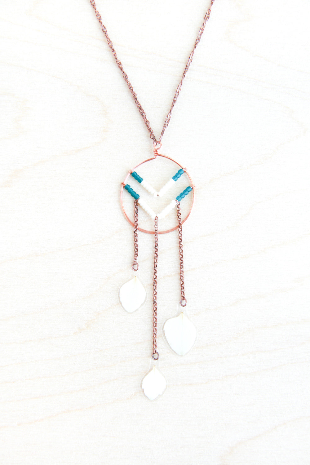 White Hydrangea Pressed Petal Necklace with Beaded Chevron & Copper Hoop - Teal & Cream