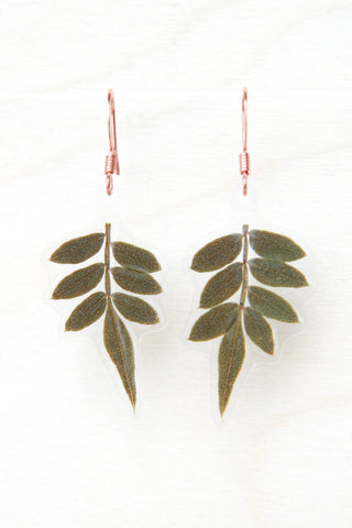 Green Jacaranda Pressed Leaf Earrings