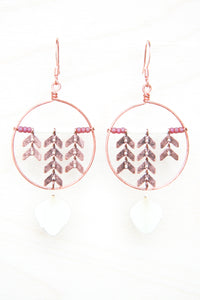 White Hydrangea Pressed Petal Earrings with Copper Chevron & Hoops - Cranberry & Cream