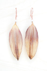 Brown & Yellow Pressed Sunflower Petal Earrings