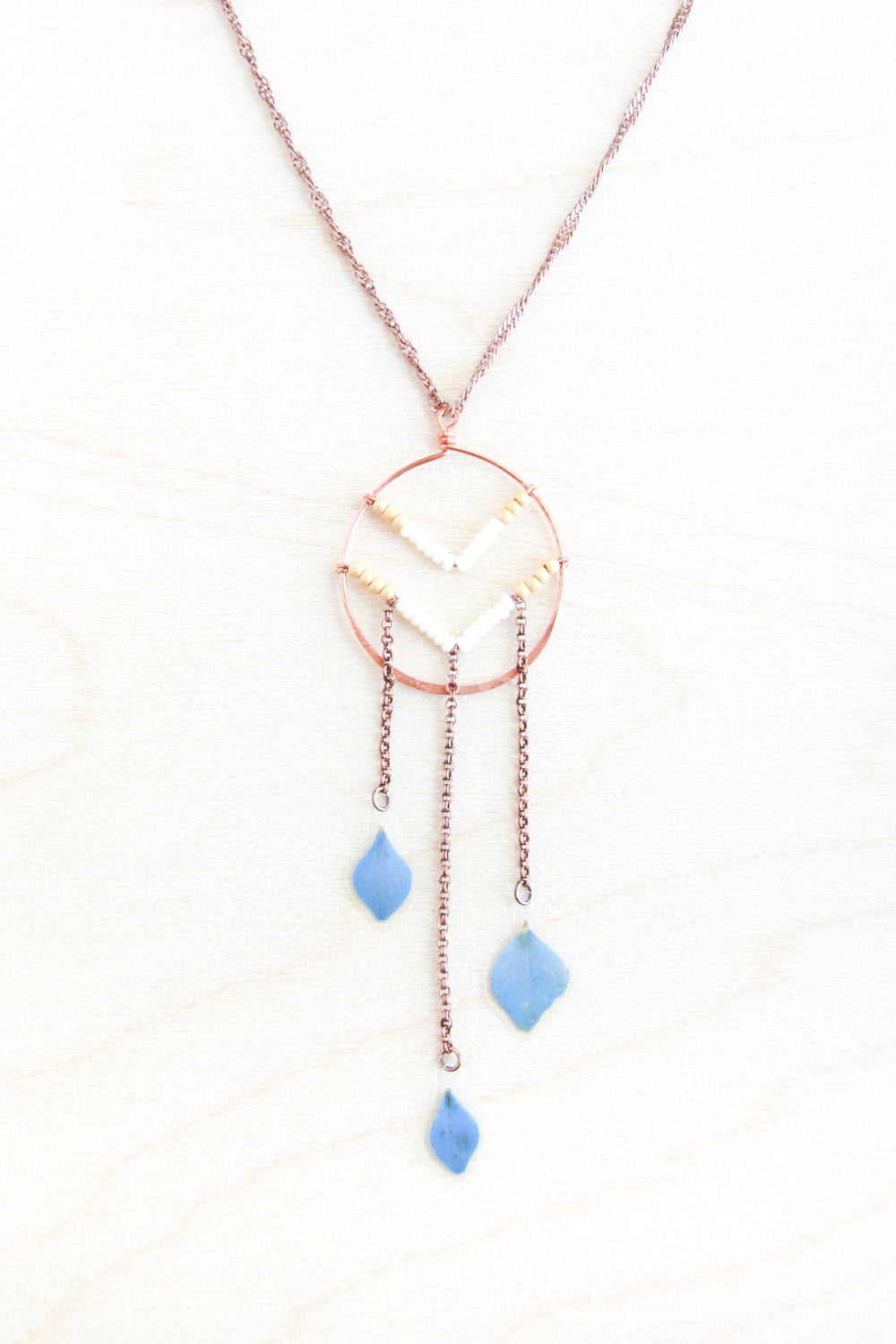 Blue Hydrangea Pressed Petal Necklace with Beaded Chevron & Copper Hoop - Gold & Cream
