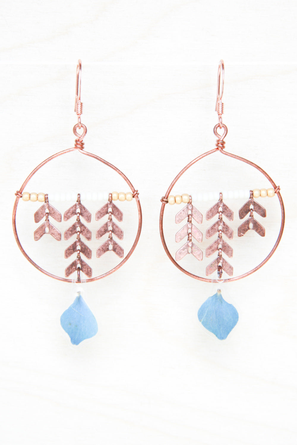 Blue Hydrangea Pressed Petal Earrings with Copper Chevron & Hoops - Gold & Cream