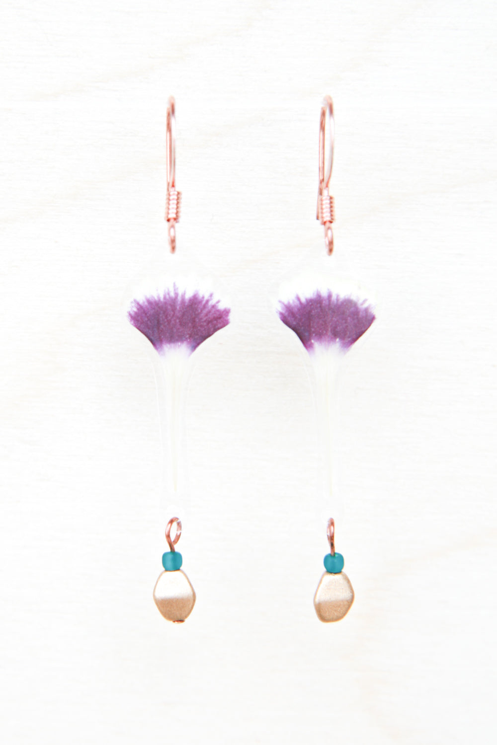 Sweet William Pressed Petal Earrings with Teal & Flax Glass Beads