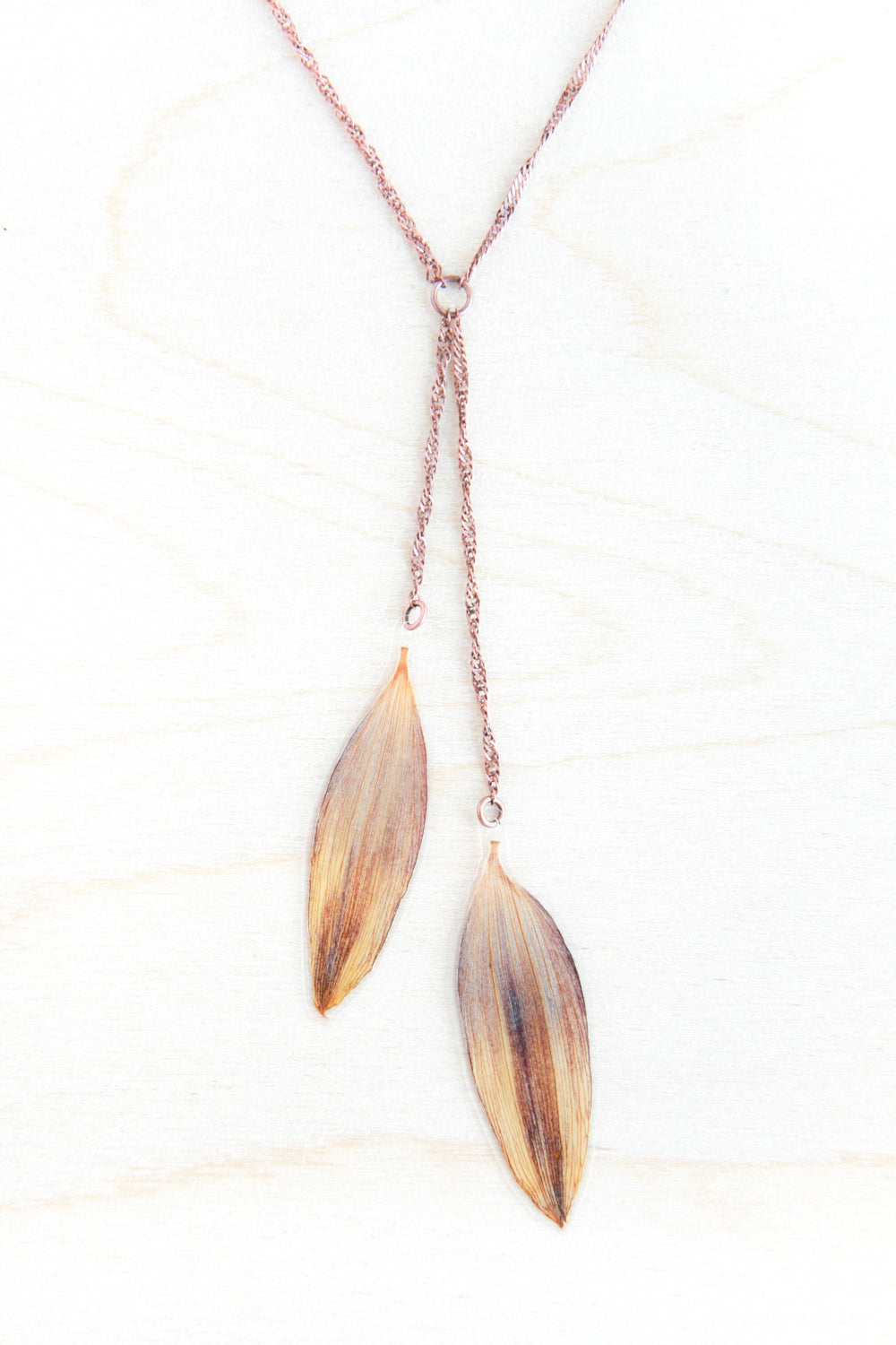 Brown & Yellow Pressed Sunflower Lariat Necklace