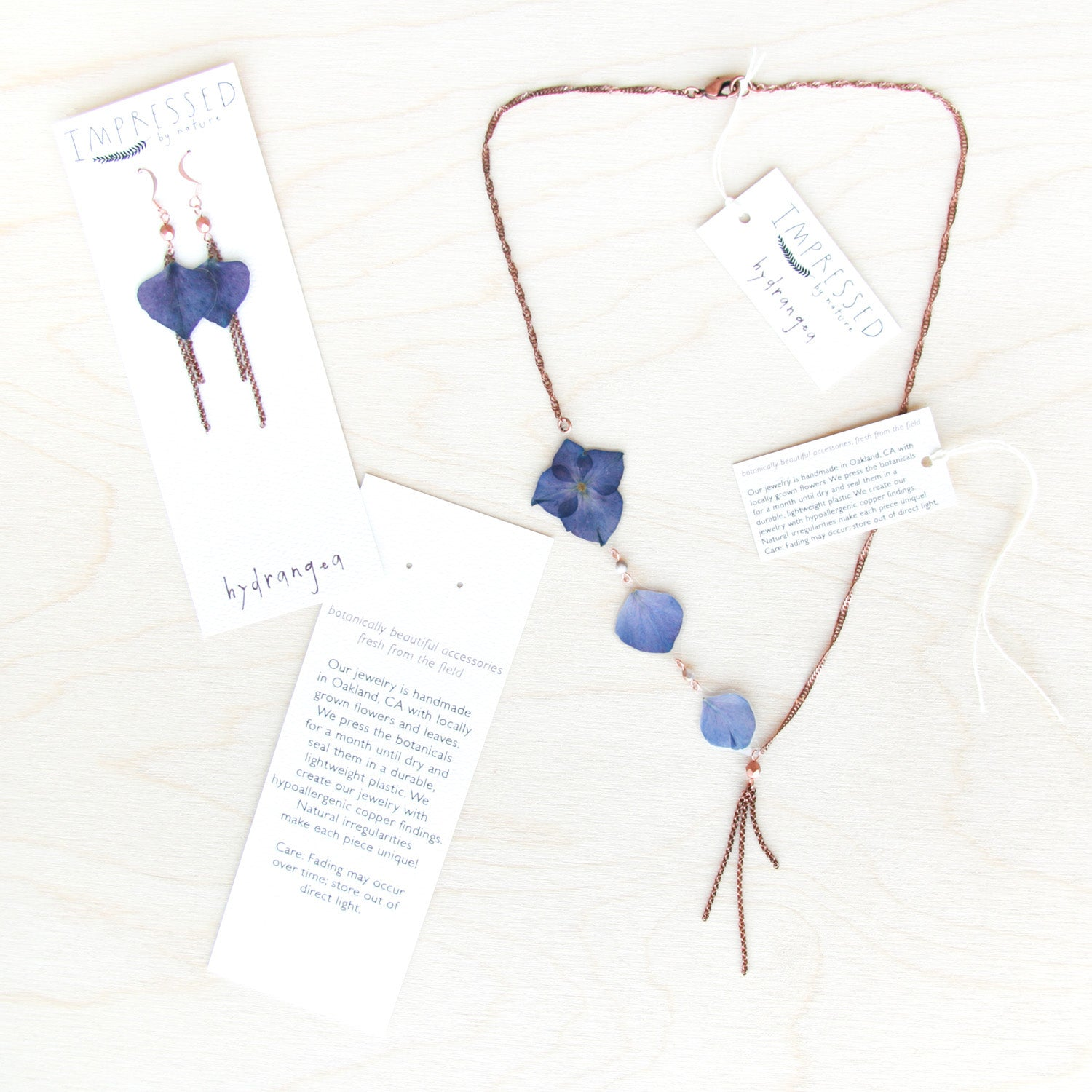 Blue Hydrangea Flower Necklace with Copper Beads & Dangles